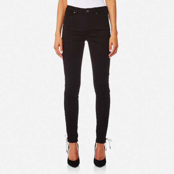 Karl Lagerfeld Women's Skinny Denim Jeans with Lacing Details Black