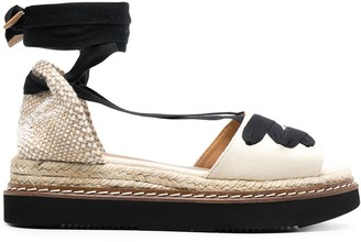 Castaner Lace-Up Wedge-Heeled Espadrille With Ankle Ties
