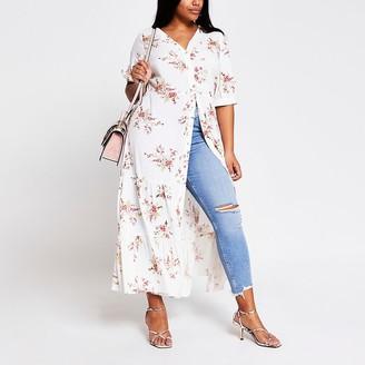 River Island Plus cream floral short sleeve midi dress