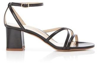 Marion Parke Bianca Black | Strappy Leather Block Heel Ankle Tie Sandal
