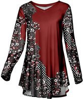 Azalea Burgundy & Black Floral Tunic - Plus Too