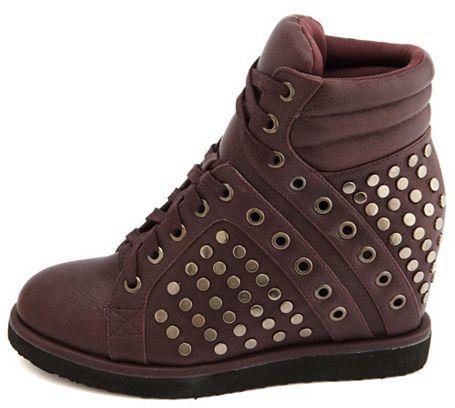 Charlotte Russe Studded Hi-Top Wedge Sneaker