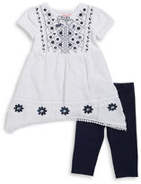 Flapdoodles Girls 2-6x Little Girls Embroidered Dress and Leggings Set