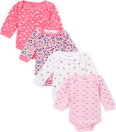 Sweet & Soft Pink & White Long-Sleeve Four-Piece Bodysuit Set - Infant