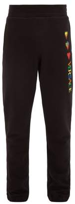 Hearts And Logo Embroidered Cotton Track Pants - Mens - Black