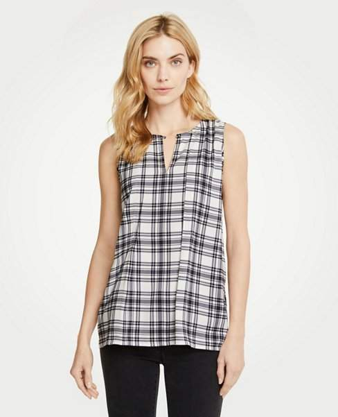 Ann Taylor Plaid Pleat Front Shell