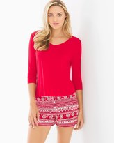 Soma Intimates Cool Nights Boxer Shorts Pajama Set Adorn Stripe Festive Red