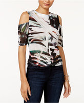 Bar III Printed Cold-Shoulder Top, Only at Macy's