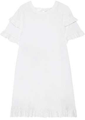 McQ Broderie Anglaise-trimmed Cotton-jersey Mini Dress