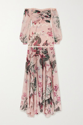 PatBO Carolina Off-the-shoulder Crochet-trimmed Floral-print Chiffon Maxi Dress - Pink