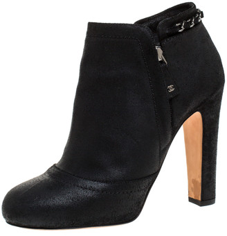 Chanel Black Leather CC Chain Link Detail Ankle Boots Size 39