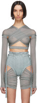 Charlotte Knowles SSENSE Exclusive Blue Check Anti-Cross Over Blouse