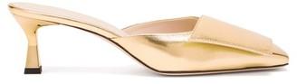 Wandler Isa Square-toe Metallic-leather Mules - Gold