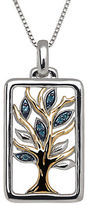 Lord & Taylor Green Diamond, Sterling Silver and 14K Yellow Gold Tree Pendant Necklace