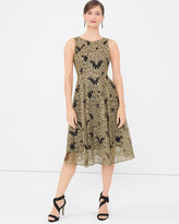 White House Black Market Metallic Lace Midi Fit-and-Flare Dress