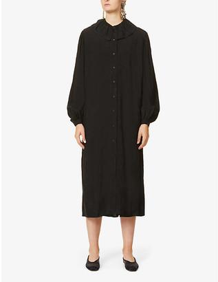 UMA WANG Aria puffed-sleeve jacquard midi dress