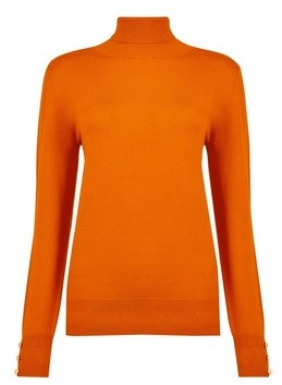 Dorothy Perkins Womens **Tall Orange Button Roll Neck Jumper, Orange