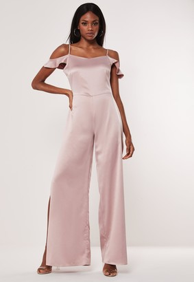 Missguided Blush Cowl Cold Shoulder Jumpsuit