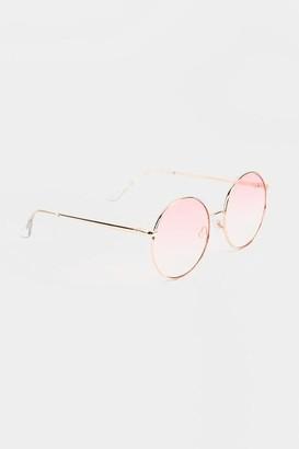 francesca's Oaklynn Oversized Round Sunglasses - Gold