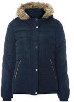 Dorothy Perkins Womens Navy Fur Hood Padded Coat- Blue