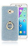 Moonmini Samsung Galaxy C7 Pro. Case Cover Sparkling Slim Fit Soft TPU Back Case Cover with Ring Grip Stand Holder 2 in 1 Hybrid Glitter Bling Bling TPU phone Case Cover (Blue)