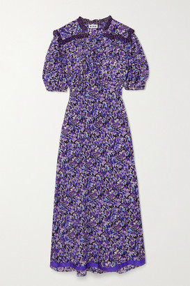 Rixo Gwen Tie-detailed Floral-print Cotton And Silk-blend Midi Dress - Purple