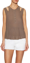 BCBGMAXAZRIA Alexys Cut Shoulder Gathered Hem Top