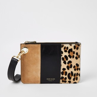 River Island Womens Beige leather leopard print block clutch bag