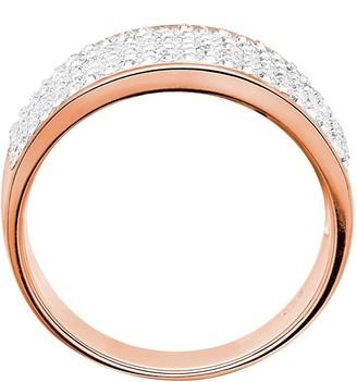 Evoke Rose Gold PlatedSterling Silver Clear Swarovski Crystals 8mm Band Ring