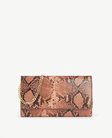 Ann Taylor Snakeskin-Embossed Leather Foldover Clutch