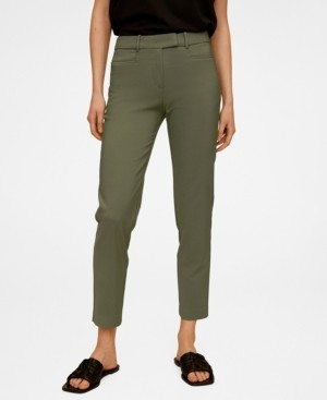 MANGO Slim-Fit Cotton-Blend Trousers