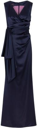 Talbot Runhof Bosworth navy wrap-effect satin gown
