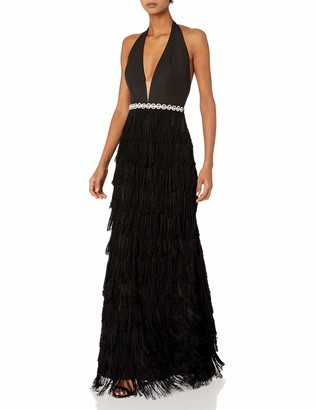 Mac Duggal Womens Fringe Halter Gown Black