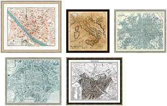 One Kings Lane 5-Pc European Cities Gallery Wall - Gray