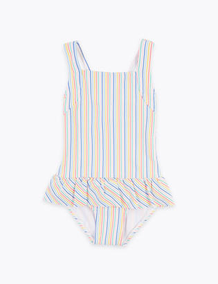 Marks and Spencer Striped Seersucker Frill Swimsuit (2-7 Yrs)