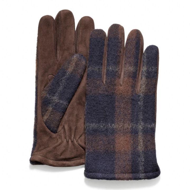 Coach Plaid Wool \/Suede Glove