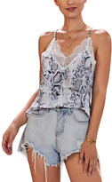 Te.Crew By Zesica TE.CREW by Zesica Women's Tank Tops Multicolor - White & Black Snake-Print Lace-Trim Love Bites Racerback Tank - Women