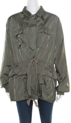 Prada Sport Olive Green Nylon Gathered Tie Detail Windcheater Jacket L