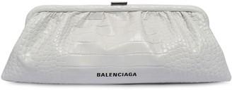 Balenciaga XL CLOUD CROC EMBOSSED LEATHER CLUTCH