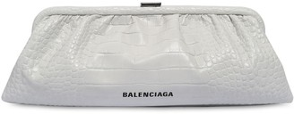 Balenciaga Xl Cloud Croc Embossed Leather Clutch