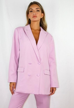 Missguided Lilac Co Ord Grandad Side Split Blazer