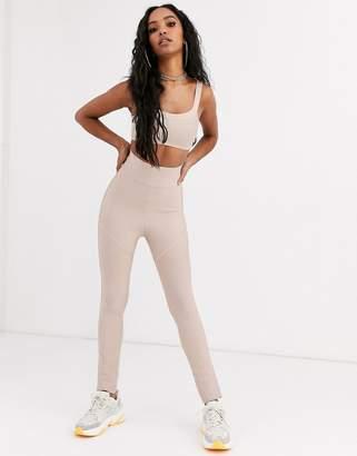 Sixth June high waist leggings in bandage two-piece-Beige