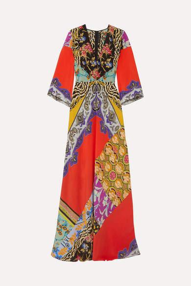 Etro Printed Silk Crepe De Chine Maxi Dress - Coral