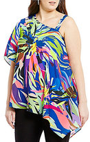 Gibson & Latimer Plus Tropical Printed Blouse with Dramatic One Shoulder Sleeve