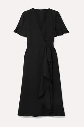 Madewell Ruffled Washed-twill Wrap Dress - Black