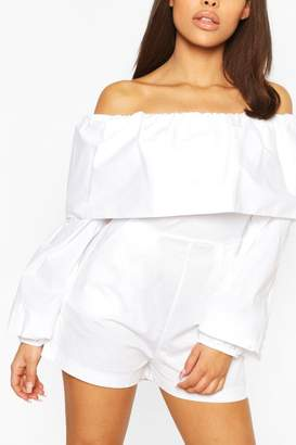boohoo Petite Cotton Poplin Volume Sleeve Playsuit