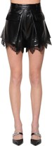 Self-Portrait Self Portrait FAUX LEATHER SHORTS W/ LACE TRIM