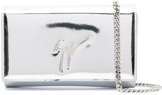 Giuseppe Zanotti Logo Plaque Metallic Clutch Bag