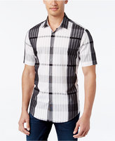 Alfani Men's Big and Tall Plaid Short-Sleeve Shirt, Slim Fit