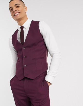 ASOS DESIGN wedding skinny suit waistcoat in burgundy
